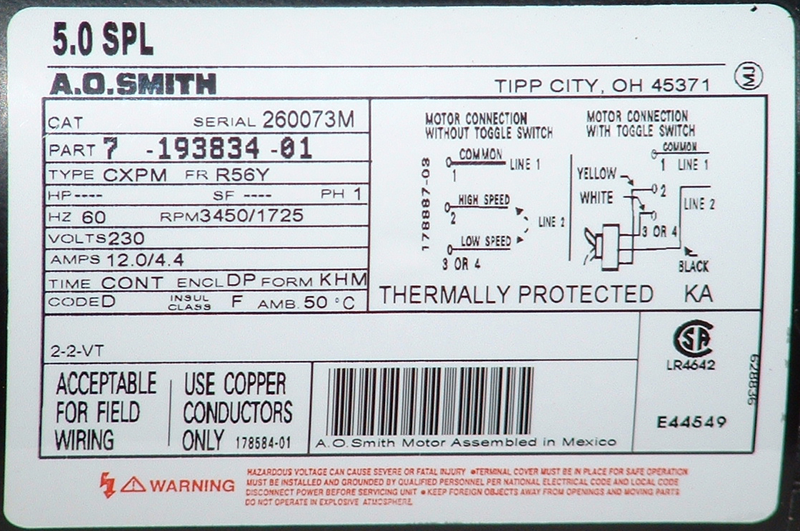 Aosmith Label on jacuzzi pump motors wiring diagrams