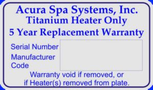Titanium Heater Warranty Sticker